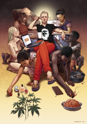 daniel-garcia-art-illustration-personal-slaves-capitalism-consumer-product-woman-man-fashion-food-porn5-1